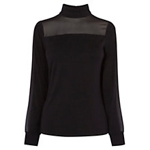 Buy Karen Millen Turtle-Neck Blouse, Black Online at johnlewis.com