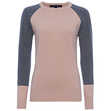 Buy French Connection Babysoft Colour Block Crew, Blush/Grey Online at johnlewis.com