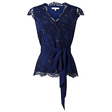 Buy Jacques Vert Elegant Mesh Top, Navy Online at johnlewis.com