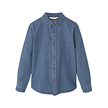 Buy Mango Kids Boys' Printed Denim Shirt, Blue Online at johnlewis.com