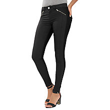 Buy Oasis Pinstitch Coated Jeans, Black Online at johnlewis.com