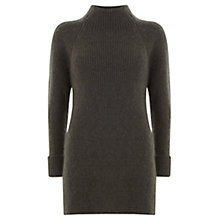Buy Mint Velvet Ribbed Longline Jumper, Green Online at johnlewis.com