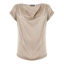 Buy Mint Velvet  Satin Slouch T-Shirt, Neutral Online at johnlewis.com