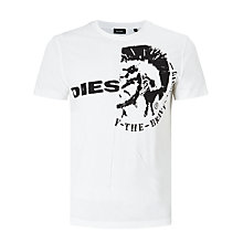 Buy Diesel T-Ulee 'Only the Brave' Logo Print T-Shirt, Bright White Online at johnlewis.com