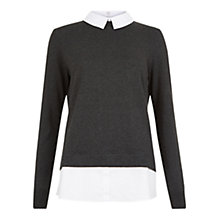 Buy Hobbs Milly Collared Jumper, Charcoal/White Online at johnlewis.com