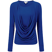 Buy Pure Collection Teresa Deep Cowl Jersey Top, Sapphire Blue Online at johnlewis.com