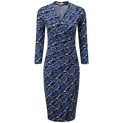 Pure Collection Abstract Print Joyce Side Wrap Dress, Navy
