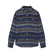 Buy Mango Kids Boys' Stripe Flannel Shirt, Grey/Blue Online at johnlewis.com