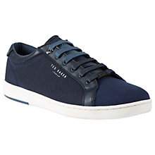 Buy Ted Baker Ternur Leather Trainers, Dark Blue Online at johnlewis.com