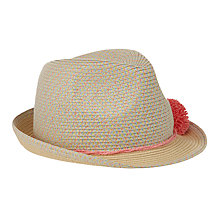Buy John Lewis Girls' Colour Mix Trilby Hat, Coral Online at johnlewis.com