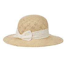 Buy John Lewis Girls' Straw Sun Hat with Bow, Natural Online at johnlewis.com