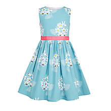 Buy John Lewis Girls' Woven Floral Print Dress, Beryl Green Online at johnlewis.com