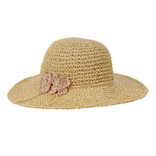 Buy John Lewis Girls' Straw Crochet Floppy Hat, Natural Online at johnlewis.com