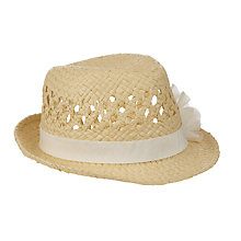 Buy John Lewis Girls' Straw Trilby Hat with Corsage, Natural Online at johnlewis.com