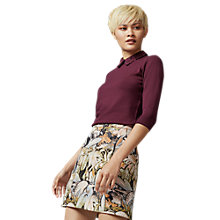 Buy Warehouse Lace Collar Detail Jumper, Berry Online at johnlewis.com