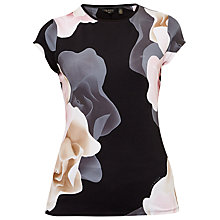 Buy Ted Baker Tarlia Porcelain Rose Fitted T-Shirt, Black Online at johnlewis.com