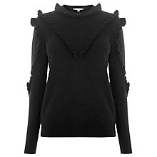 Buy Warehouse Frill Yoke Jumper, Black Online at johnlewis.com