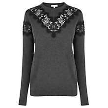 Buy Warehouse Lace Insert Jumper, Dark Grey Online at johnlewis.com