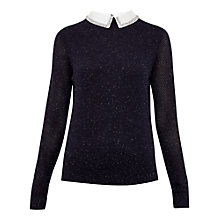 Buy Ted Baker Longina Metallic Collar Jumper, Navy Online at johnlewis.com