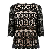 Buy Oasis Deco Lace T-Shirt, Black Online at johnlewis.com