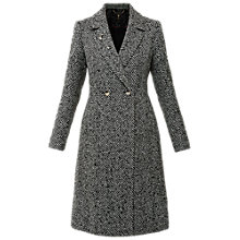 Buy Ted Baker Mahhar Chevron Longline Midi Coat, Black Online at johnlewis.com