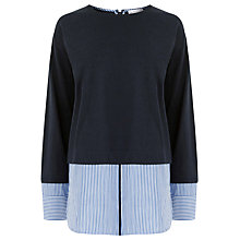 Buy Warehouse Stripe Hem & Cuff Top, Navy Online at johnlewis.com