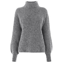 Buy Warehouse Blouson Sleeve Mohair Jumper, Dark Grey Online at johnlewis.com