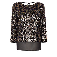 Buy Coast Sabah Sequin Top, Gold Online at johnlewis.com