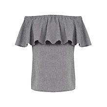 Buy Warehouse Cotton Bardot Ruffle Top, Light Grey Online at johnlewis.com