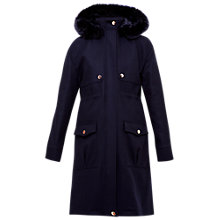 Buy Ted Baker Eggle Hooded Wool Parka Coat, Navy Online at johnlewis.com