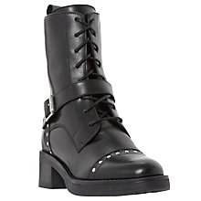 Buy Dune Roxbury Studded Biker Boots, Black Online at johnlewis.com