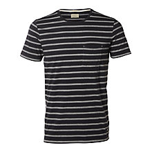 Buy Selected Homme Sall Stripe Crew Neck T-Shirt, Dark Navy Online at johnlewis.com