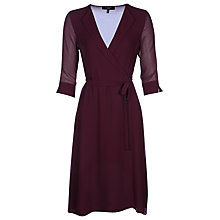 Buy Yanny London Open Collar Wrap Dress, Wine Online at johnlewis.com
