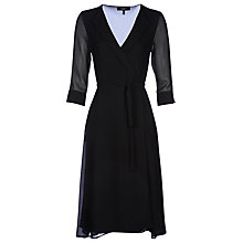 Buy Yanny London Open Collar A Line Wrap Dress, Black Online at johnlewis.com