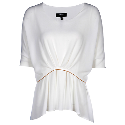 Yanny London Drape Layered Blouse, White