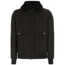 Buy Jaeger Wool Shearling Collar Blouson, Olive Online at johnlewis.com