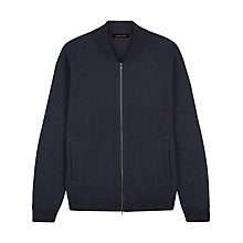 Buy Jaeger Boiled Merino Wool Knitted Bomber Jacket, Navy Online at johnlewis.com