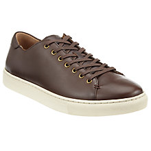 Buy Polo Ralph Lauren Jermain Nappa Leather Low-Top Trainers, Dark Brown Online at johnlewis.com