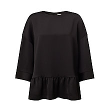 Buy Kin by John Lewis Satin Back Crepe Frill Top, Black Online at johnlewis.com