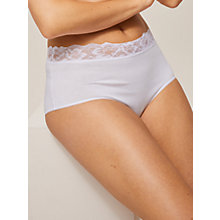 Buy John Lewis 3 Pack Lace Trim Full Briefs, White Online at johnlewis.com