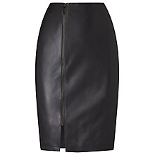 Buy Phase Eight Carly Leather Skirt, Charcoal Online at johnlewis.com