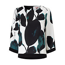 Buy Phase Eight Lisa Leaf Print Blouse, Green/Ivory Online at johnlewis.com
