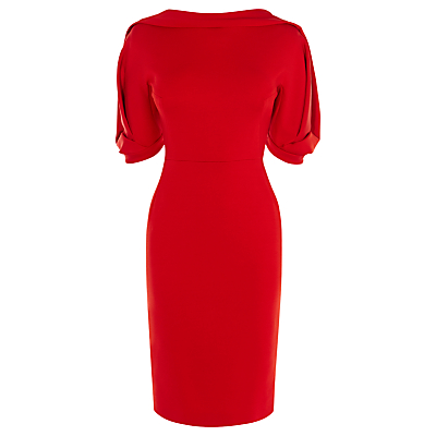 Karen Millen Belted Pencil Dress, Dark Red