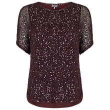 Buy Phase Eight Sequin Macey Knit Top, Port Online at johnlewis.com