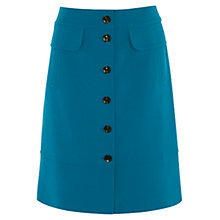 Buy Karen Millen Button Through Pencil Skirt, Teal Online at johnlewis.com