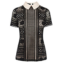 Buy Oasis Collared Lace T-Shirt, Black Online at johnlewis.com