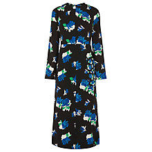 Buy Warehouse Ink Rose Midi Dress, Black Online at johnlewis.com