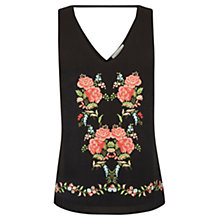 Buy Oasis Embroidered Puritan Embroidered V Front Vest, Black Online at johnlewis.com