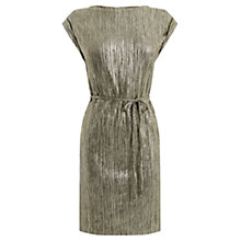 Buy Oasis Plisse T-Shirt Dress, Gold Online at johnlewis.com