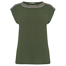 Buy Oasis Embellished Top, Khaki Online at johnlewis.com